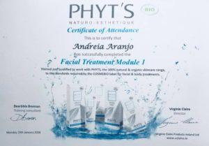 Certificate of attendance Facial Treatment Module 1